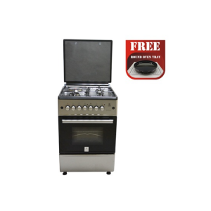MIKA Standing Cooker, 58cm X 58cm, All Gas, Gas Oven, Silver photo
