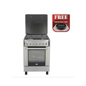 Mika Standing Cooker, 60cm X 60cm, 4 Gas, Electric Oven, Half Inox photo