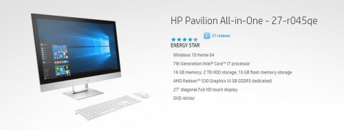 Hp Pavilion AIO 27-R045QE i7-7700/2tb+16GB SSD /16GB/DVDRW WIRELESS KYB MOUSE 27'' FHD TOUCH WIN10/WHITE By HP