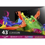 "Vision Plus VP8843C - 43"" - FHD Smart Curved, Android LED TV - Black + FREE WALL MOUNT By Vision"