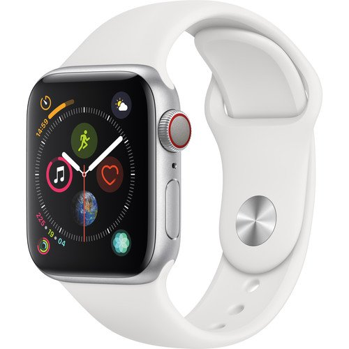 Apple Watch Series 4 (GPS + Cellular, 40mm, Silver Aluminum, White Sport Band)  By Apple