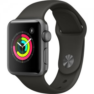 Apple Watch Series 3 38mm Smartwatch (GPS Only, Space Gray Aluminum Case, Gray Sport Band) photo