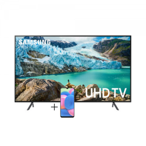 Samsung 65 inch Class HDR 4K UHD FLAT Smart LED TV UA65RU7100K  + Galaxy A20s photo