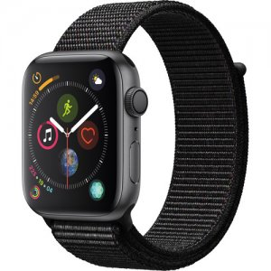 Apple Watch Series 4 (GPS Only, 44mm, Space Gray Aluminum, Black Sport Loop)  photo
